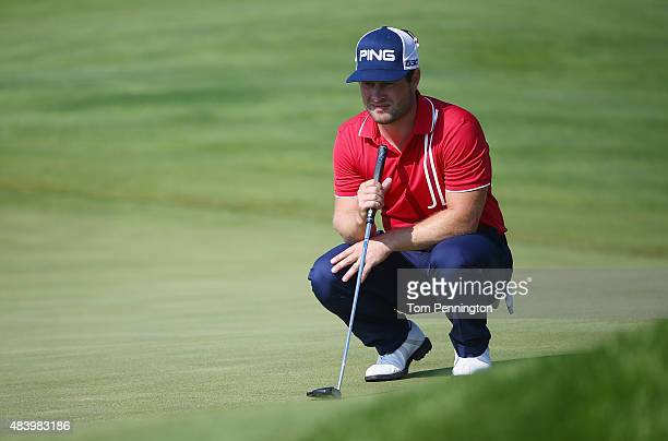 David Lingmerth of Sweden lines up a putt on the sixth hole during the second round of the 2015 PGA Championship at Whistling Straits on August 14...