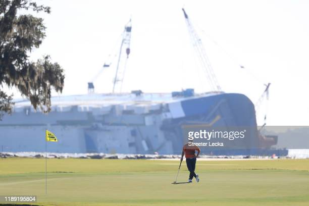David Lingmerth of Sweden looks on from the 18th green during the first round of the RSM Classic on the Plantation course at Sea Island Golf Club on...