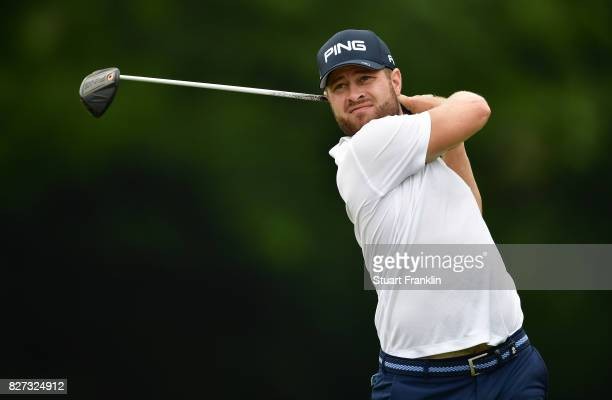 David Lingmerth of Sweden plays a shot during a practice round prior to the 2017 PGA Championship at Quail Hollow Club on August 7 2017 in Charlotte...