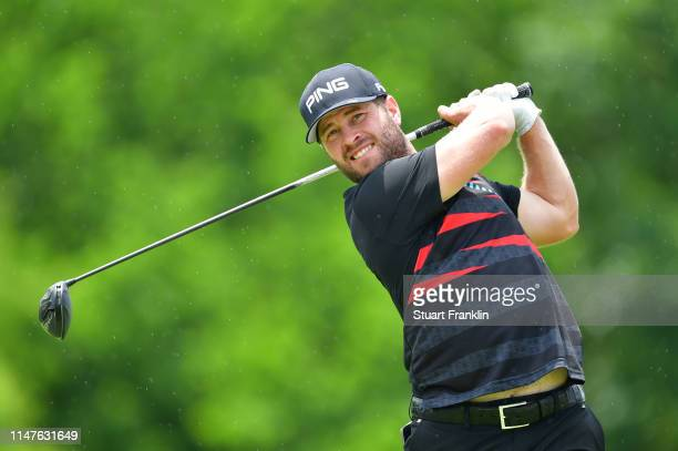 David Lingmerth of Sweden plays a shot during practice prior to the start of the AT&T Byron Nelson on May 07, 2019 in Irving, Texas.