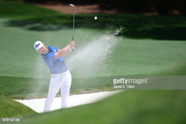 David Lingmerth of Sweden plays a shot out of a bunker on the 11th hole during round three of the Wells Fargo Championship at Eagle Point Golf Club...