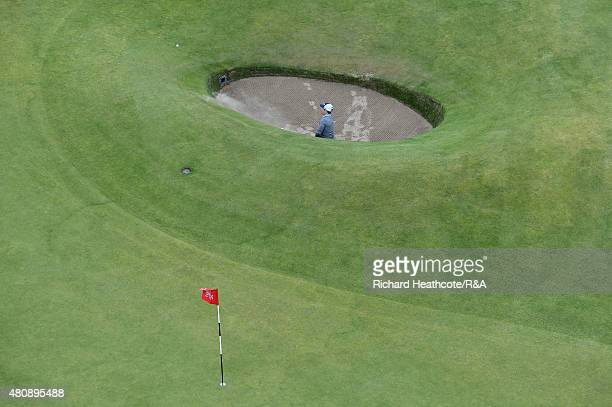 David Lingmerth of Sweden plays from the road hole bunker on the 17th hole during the first round of the 144th Open Championship at The Old Course on...