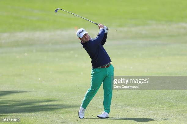 David Lingmerth of Sweden plays his second shot on the 18th hole during the first round of the Valspar Championship at Innisbrook Resort Copperhead...
