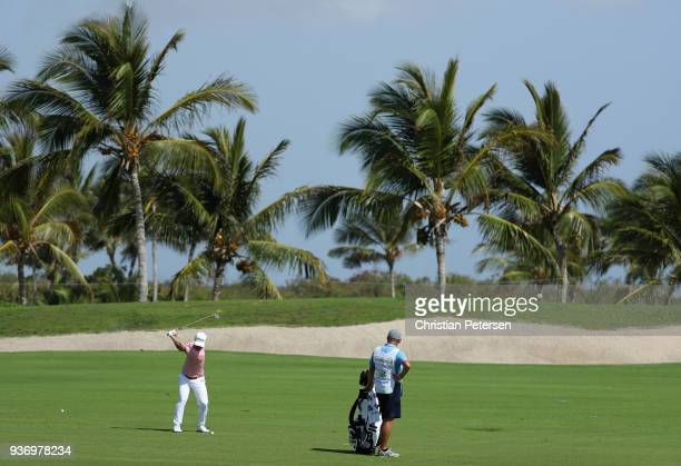 David Lingmerth of Sweden plays his second shot on the seventh hole during round two of the Corales Puntacana Resort Club Championship on March 23...