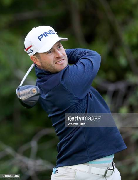 David Lingmerth of Sweden plays his shot from the 12th tee during the first round of the Genesis Open at Riviera Country Club on February 15 2018 in...