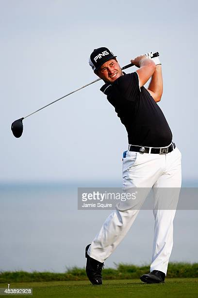 David Lingmerth of Sweden plays his shot from the 14th tee during the first round of the 2015 PGA Championship at Whistling Straits on August 13 2015...