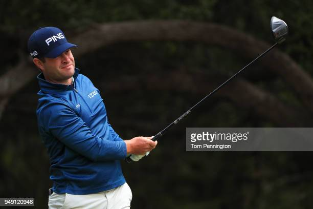 David Lingmerth of Sweden plays his shot from the 14th tee during the second round of the Valero Texas Open at TPC San Antonio ATT Oaks Course on...