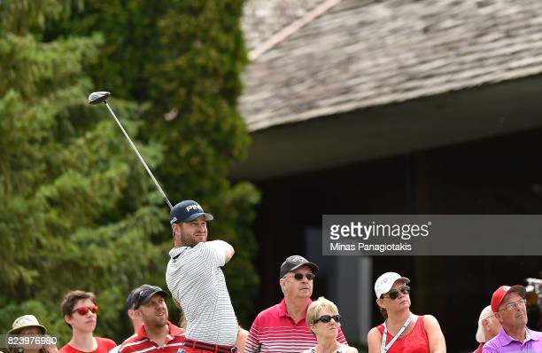 David Lingmerth of Sweden plays his shot from the 17th tee during the second round of the RBC Canadian Open at Glen Abbey Golf Club on July 28 2017...