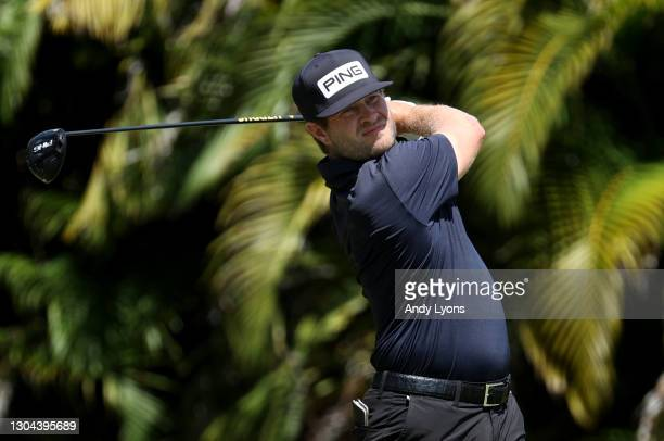 David Lingmerth of Sweden plays his shot from the fourth tee during the third round of the Puerto Rico Open at Grand Reserve Country Club on February...