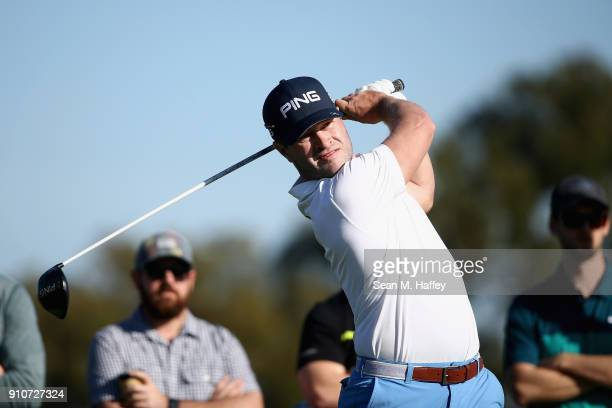 David Lingmerth of Sweden plays his shot from the second tee during the second round of the Farmers Insurance Open at Torrey Pines South on January...
