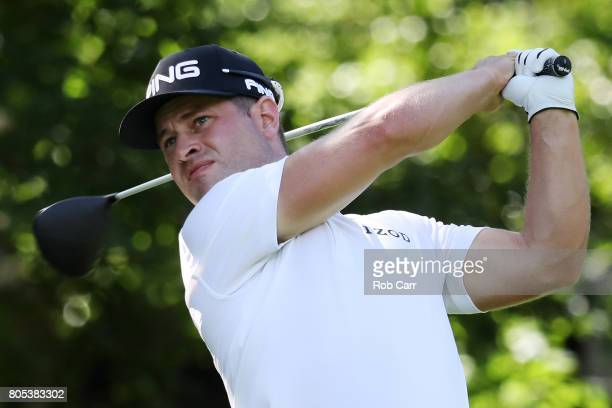 David Lingmerth of Sweden plays his shot from the seventh tee during the third round of the Quicken Loans National on July 1 2017 TPC Potomac in...