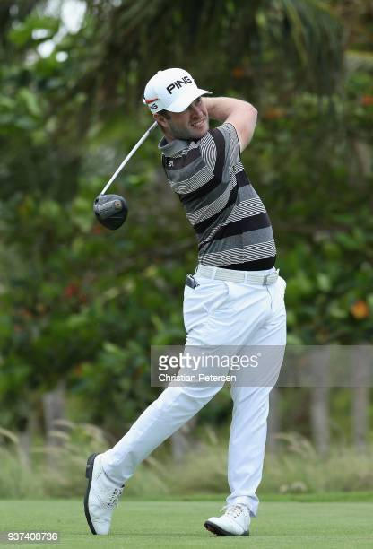 David Lingmerth of Sweden plays his shot from the seventh tee during round three of the Corales Puntacana Resort Club Championship on March 24 2018...
