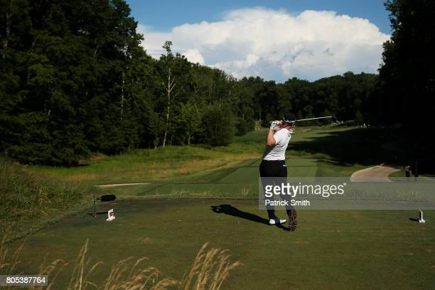 David Lingmerth of Sweden plays his shot from the tenth tee during the third round of the Quicken Loans National on July 1, 2017 TPC Potomac in...