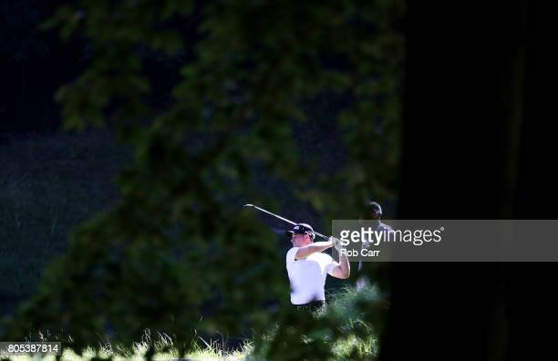David Lingmerth of Sweden plays his shot from the tenth tee during the third round of the Quicken Loans National on July 1 2017 TPC Potomac in...