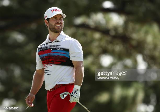 David Lingmerth of Sweden plays his shot from the third tee during the first round of the Barracuda Championship at Montreux Country Club on July 25,...
