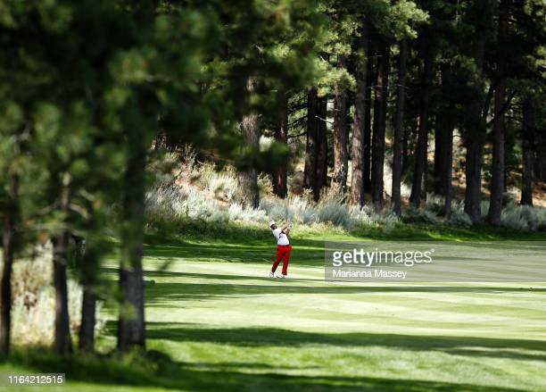 David Lingmerth of Sweden plays his shot on the fifth hole during the first round of the Barracuda Championship at Montreux Country Club on July 25,...