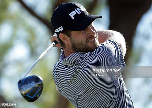 David Lingmerth of Sweden plays his tee shot on the third hole during the final round of the CareerBuilder Challenge In Partnership With The Clinton...