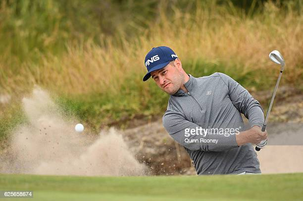 David Lingmerth of Sweden plays out of the bunker during day two of the World Cup of Golf at Kingston Heath Golf Club on November 25, 2016 in...