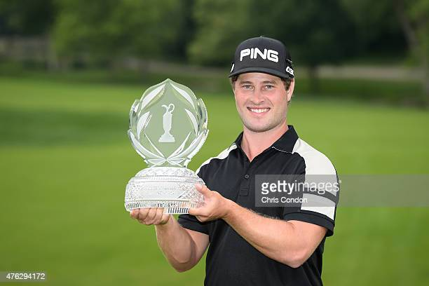 David Lingmerth of Sweden poses with the tourney,net trophy after winning the Memorial Tournament presented by Nationwide at Muirfield Village Golf...