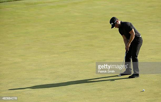 David Lingmerth of Sweden putts for birdie on the 18th green during the third round of the Quicken Loans National at the Robert Trent Jones Golf Club...