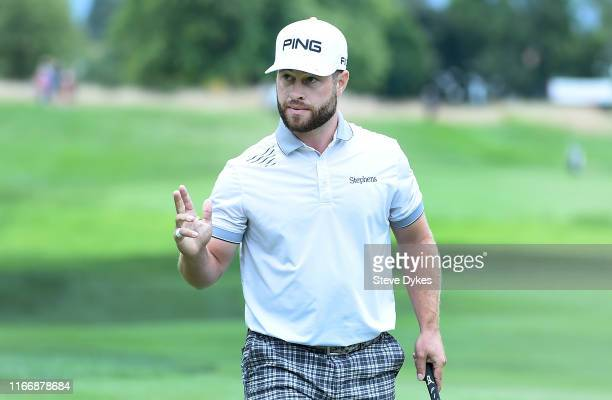David Lingmerth of Sweden reacts after sinking his putt on the 18th hole during the first round of the WinCo Foods Portland Open presented by...