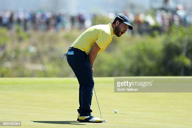 David Lingmerth of Sweden reacts to a missed putt for birdie on the eighth green during the final round of men's golf on Day 9 of the Rio 2016...