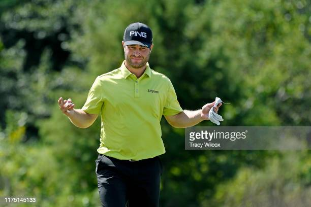 David Lingmerth of Sweden reacts to his putt at the 17th hole during the first round of the Houston Open at the Golf Club of Houston on October 10,...