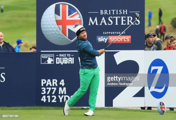 David Lingmerth of Sweden tees off on the 12th hole during day three of the British Masters at Close House Golf Club on September 30 2017 in...