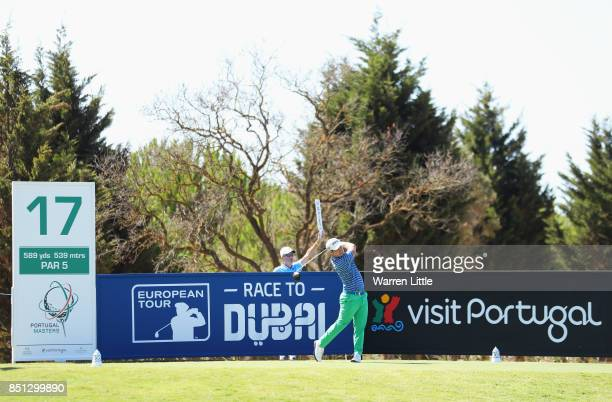 David Lingmerth of Sweden tees off on the 17th hole during day two of the Portugal Masters at Dom Pedro Victoria Golf Club on September 22 2017 in...