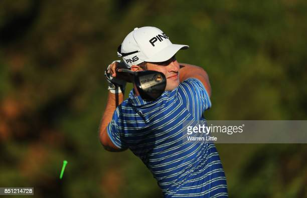 David Lingmerth of Sweden tees off on the 2nd hole during day two of the Portugal Masters at Dom Pedro Victoria Golf Club on September 22 2017 in...