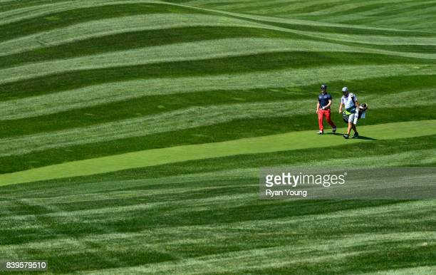 David Lingmerth of Sweden walks down the fifth fairway during the third round of THE NORTHERN TRUST at Glen Oaks Club on August 26 in Old Westbury...