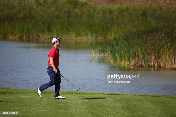 David Lingmerth of Sweden walks on the fifth hole during the second round of the 2015 PGA Championship at Whistling Straits on August 14 2015 in...