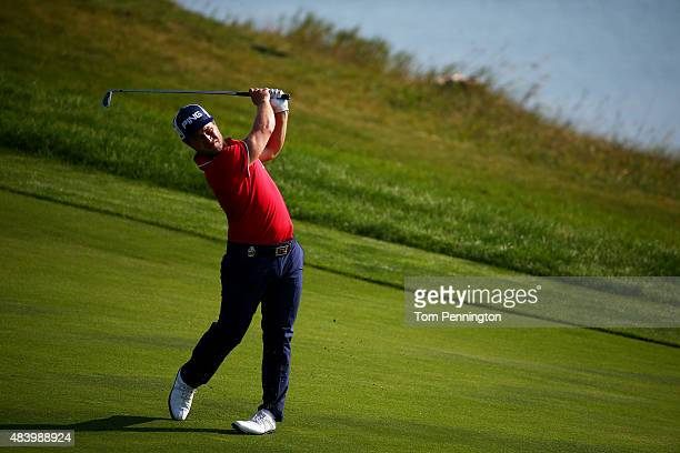 David Lingmerth of Sweden watches a shot during the second round of the 2015 PGA Championship at Whistling Straits on August 14 2015 in Sheboygan...