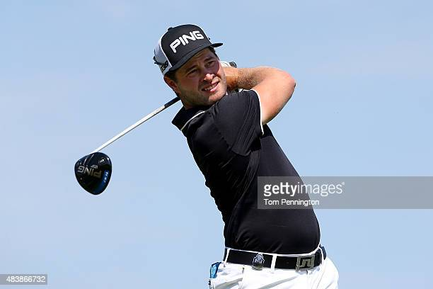 David Lingmerth of Sweden watches his tee shot on the 14th hole during the first round of the 2015 PGA Championship at Whistling Straits on August 13...