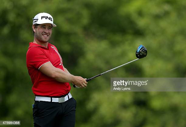 David Lingmerth of Sweden watches his tee shot on the 18th hole during the second round of The Memorial Tournament presented by Nationwide at...