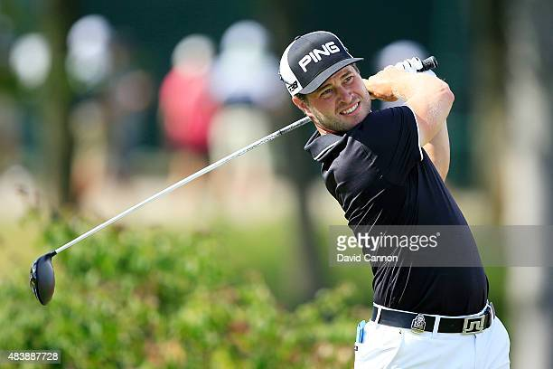 David Lingmerth of Sweden watches his tee shot on the first hole during the first round of the 2015 PGA Championship at Whistling Straits on August...