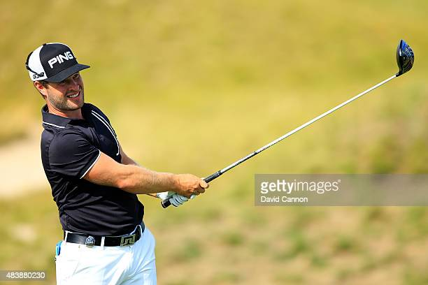 David Lingmerth of Sweden watches his tee shot on the second hole during the first round of the 2015 PGA Championship at Whistling Straits on August...