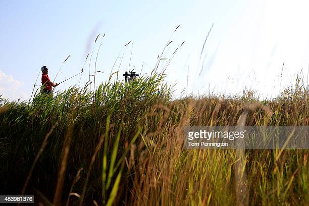David Lingmerth of Sweden watches his tee shot on the second hole during the second round of the 2015 PGA Championship at Whistling Straits on August...