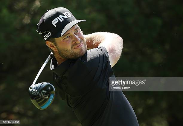 David Lingmerth of Sweden watches his tee shot on the sixth hole during the third round of the Quicken Loans National at the Robert Trent Jones Golf...