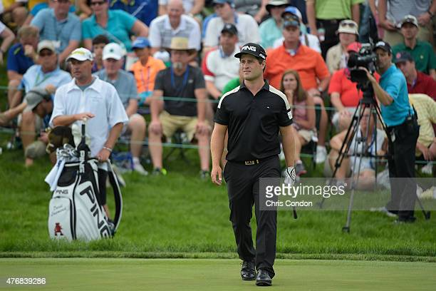 David Lingmerth plays his third shot on the 18th green during the final round of the Memorial Tournament presented by Nationwide at Muirfield Village...