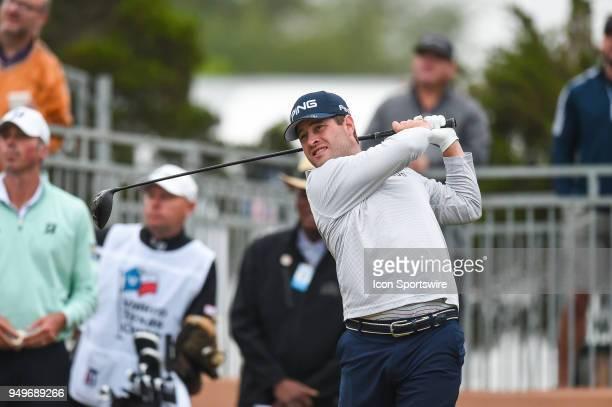 David Lingmerth tees off during the third round of the Valero Texas Open at the TPC San Antonio Oaks Course in San Antonio TX on April 21 2018