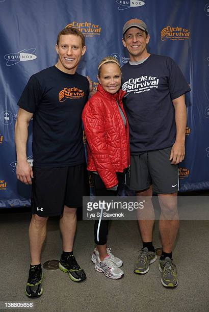 David Linn, Kristin Chenoweth and Seth Meyers attend 2012 Cycle For Survival - Day 2 at Equinox Graybar on February 12, 2012 in New York City.