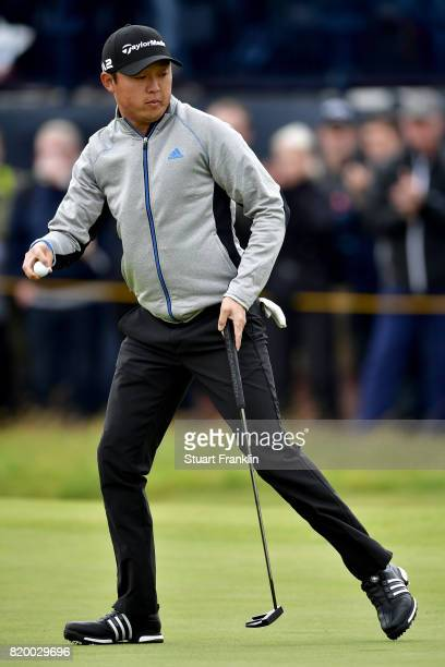 David Lipsky of the United States acknowledges the crowd on the 4th green during the second round of the 146th Open Championship at Royal Birkdale on...