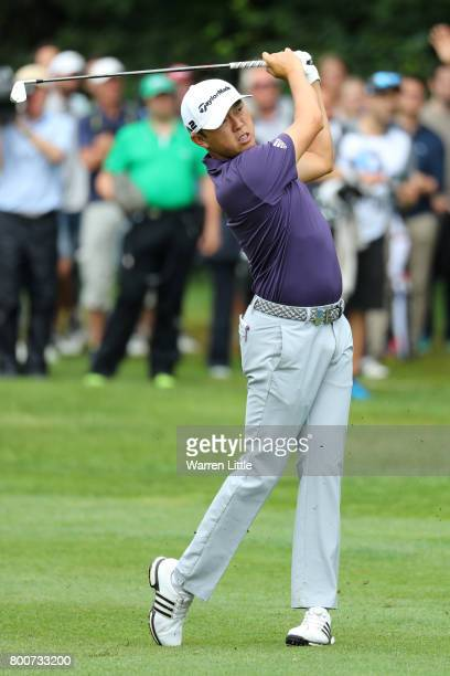 David Lipsky of the United States hits his second shot on the 10th hole during the final round of the BMW International Open at Golfclub Munchen...