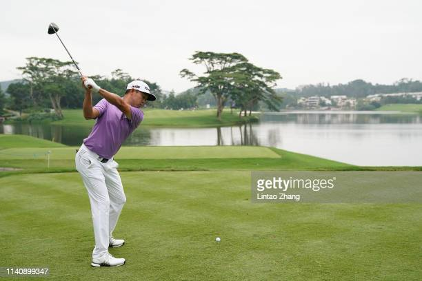 David Lipsky of the United States plays a shot during the day two of the 2019 Volvo China Open at Genzon Golf Club on May 3 2019 in Shenzhen China