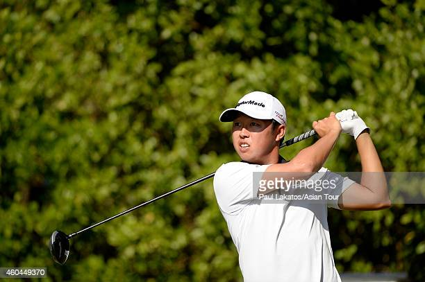 David Lipsky of the USA plays a shot during round four of the Thailand Golf Championship at Amata Spring Country Club on December 14 2014 in Chon...