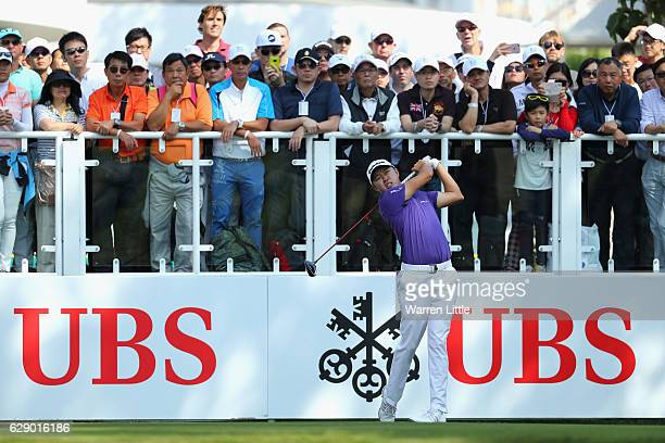 David Lipsky of the USA tees off on the first hole during the final round of the UBS Hong Kong Open at The Hong Kong Golf Club on December 11 2016 in...