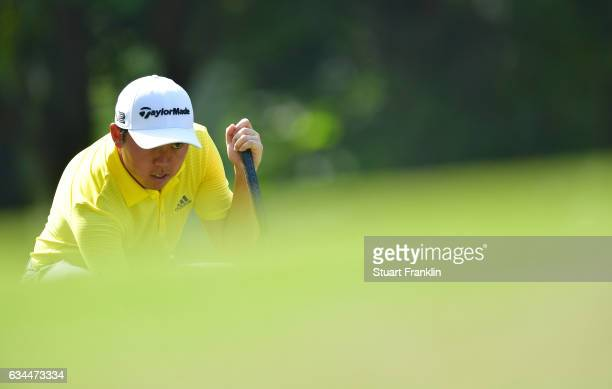 David Lipsky of USA lines up a putt during Day Two of the Maybank Championship Malaysia at Saujana Golf Club on February 10 2017 in Kuala Lumpur...
