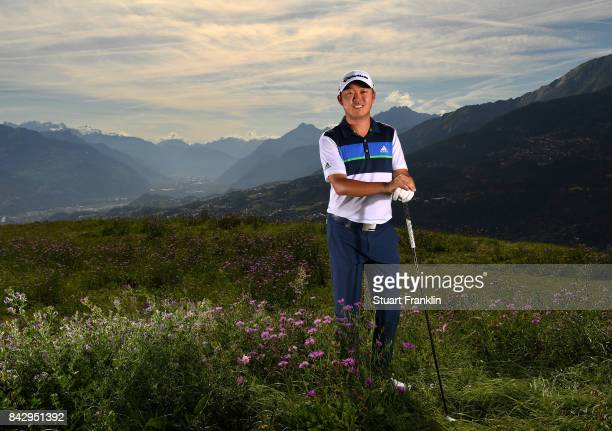 David Lipsky of USA poses for a picture during practice prior to the start of the Omega European Masters at CranssurSierre Golf Club on September 5...