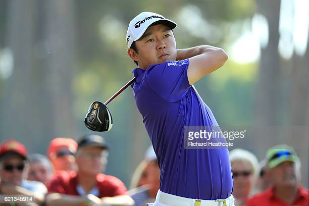 David Lipsky of USA tees off on the 1st hole during day four of the Turkish Airlines Open at the Regnum Carya Golf Spa Resort on November 6 2016 in...
